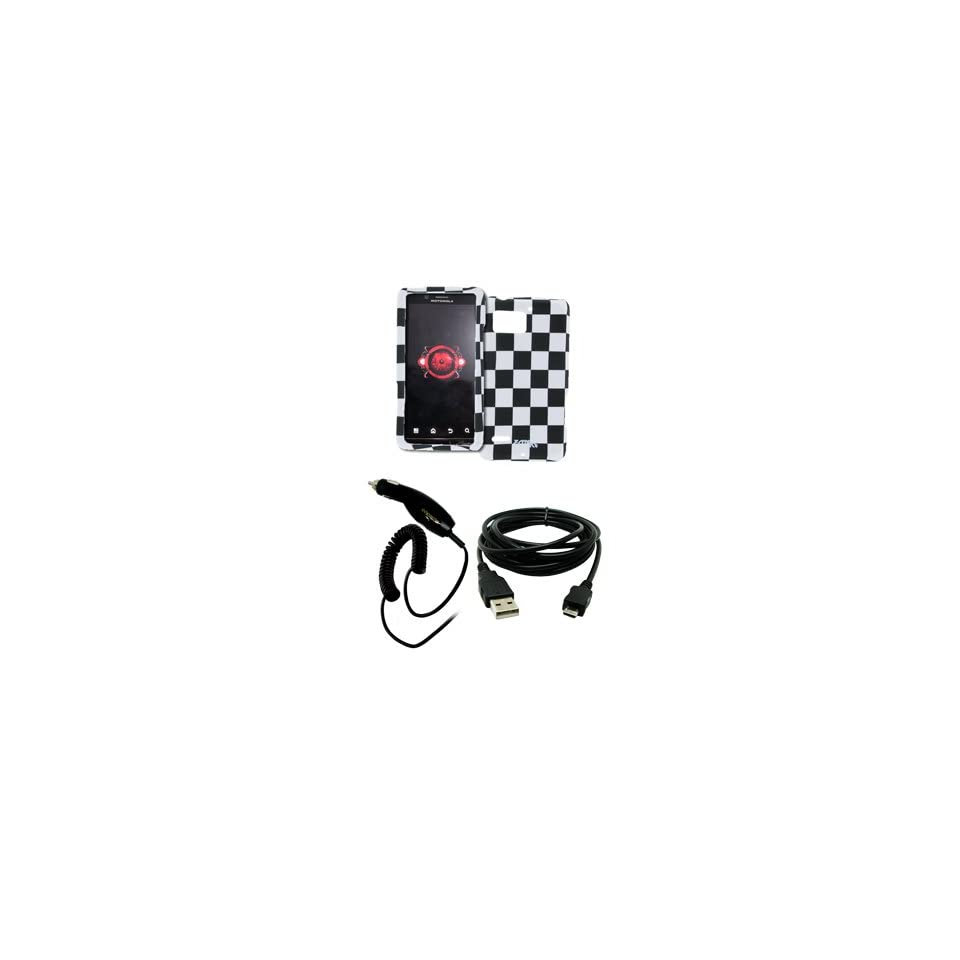 EMPIRE Black and White Checkers Design Hard Case Cover + Car Charger (CLA) + USB Data Cable for Verizon Motorola DROID Bionic XT875