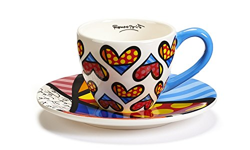 Romero Britto Teacup and Saucer Set, Heart Design hot factory sales metal beads machine family cooltool for woodwork hobby lathe in model craft making child gift teach