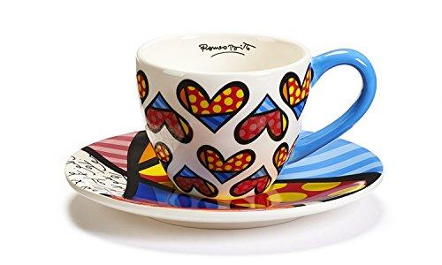 Romero Britto Teacup and Saucer Set, Heart Design