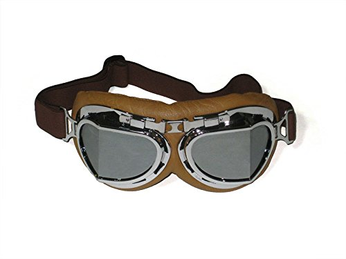 CRG Sports Vintage Aviator Pilot Style Motorcycle Cruiser Scooter Goggle T08 T08SSN Silver lens, silver frame, brown padding 0