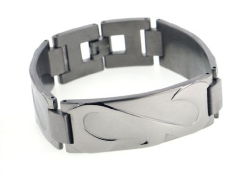Wide Mens Rugged Stingray Titanium Metal Jewelry Link Bracelet, 7.5″