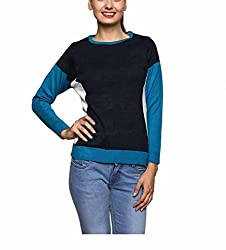 Leebonee Women's Acrylic Full Sleeve Turquoise Sweater