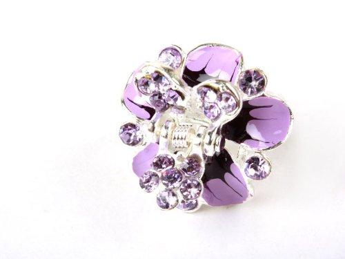 花 薔薇 ヘアクリップ 髪飾り ビジュー髪留め 紫色
