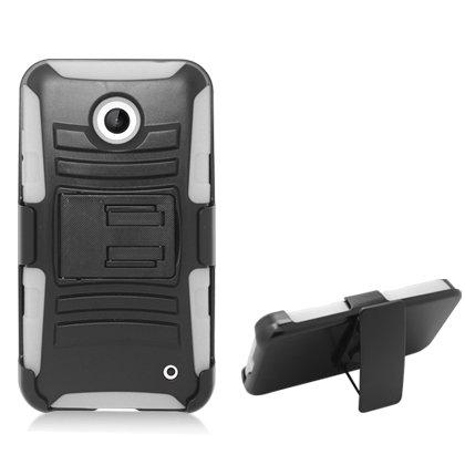 Aimo Wireless Nokia Lumia 635 (T-Mobile/ Metropcs) / Lumia 630(Cricket/At&T) White Armor Case, W/ Black Belt Clip & Black Stand