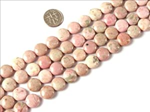 10mm Coin Smooth Manmade Rhodochrosite Beads Strands 15 Inch Jewelry Making Beads