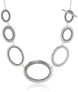 "Judith Jack ""Silver Halo"" Sterling Silver and Marcasite Hammered Oval Drama Toggle Necklace, 18"""