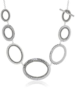 """Judith Jack """"Silver Halo"""" Sterling Silver and Marcasite Hammered Oval Drama Toggle Necklace, 18"""""""