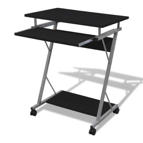 Tavolo scrivania per computer ripiano estraibile tavolo da ufficio/per studende finitura nera