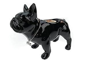 Teelicht Leuchter Bulldogge Keramik schwarz Halter Hund Figur