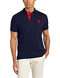 U.S. Polo Assn. Men\'s Slim Fit Solid Polo with Contrast Striped Underside Of Collar, Classic Navy, Large