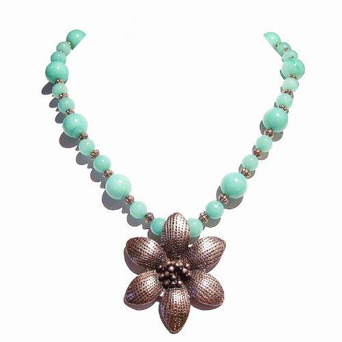 Aqua Jade Necklace w/ Antique Copper Flower Pendant