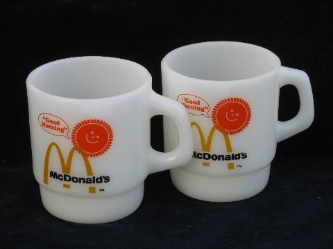 McDonald`s Anchor Hocking Fire King Coffee Mug Cup - Set of 2