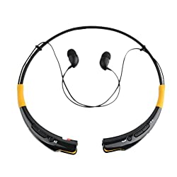 Ecandy Universal HBS-740 Wireless Stereo Bluetooth 4.0 Headset Universal Vibration Neckband Style Headset Earphone Headphone For cellphones such as iPhone, Nokia, HTC, Samsung, LG, Moto, PC, iPad, PSP and so on & enabled Bluetooth-Black/Yellow