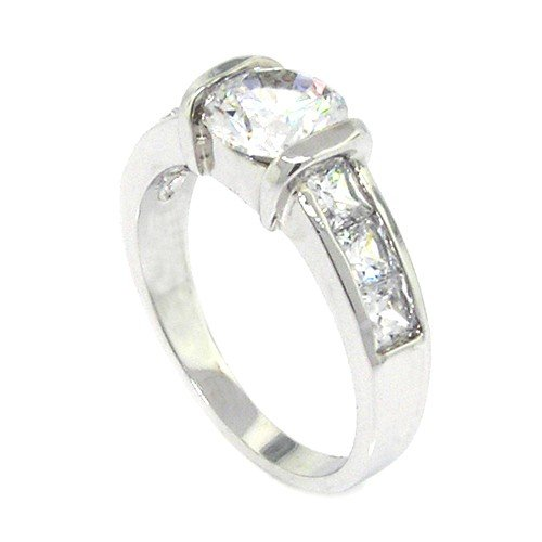 Sterling Silver Classic Promise Ring w/Round Brilliant White CZ Size 5