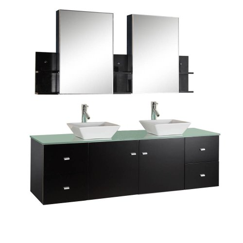 72 Inch Double Sink Bathroom Vanities Wall Mounted