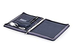 Leather Padfolio with 3-Ring Binder for Letter A4 Paper, 11-inch Laptop, Tablet