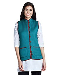 Jaypore Women's Art Silk Quilted Jacket (JPJAPJ000094416-XS_Green and Maroon)