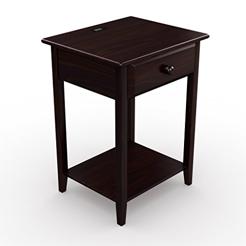 Stony-Edge Night Stand End Accent Table, with USB Port. Espresso. 17