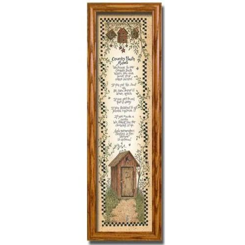 Country bath rules decor outhouse wall framed for Outhouse bathroom ideas