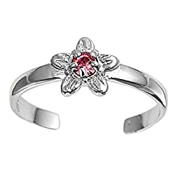 Sterling Silver Fashion Toe Ring -Star with Pink CZ - 2mm Band Width