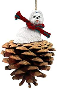 White Shih Tzu Real Pinecone Dog Christmas Ornament