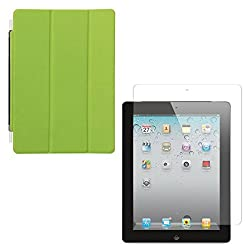 DMG Ultra Slim Magnetic Smart Shell Stand Cover Case for Apple iPad 2/3/4 (Lime Green) + Tempered Glass Screen Protector