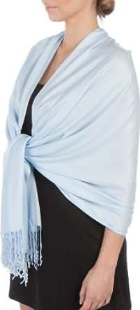 "Sakkas 78"" X 28"" Silky Soft Solid Pashmina Shawl / Wrap / Stole - Baby Blue"