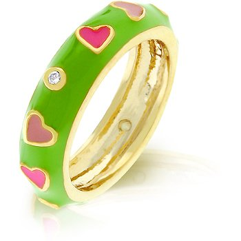 14K Gold Bonded Multicolor Enamel Heart Eternity Ring With Clear CZ Accents