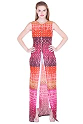 Multi Coloured Slit Maxi With Front Zip ZSTRDRESS406-S
