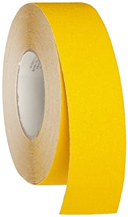 "Brady 60' Length, 2"" Width, B-916 Grit-Coated Polyester Tape, Safety Yellow Color Anti-Skid Tape Roll Mounted"