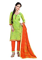 7 Colors Lifestyle Green Coloured Embroidered Chanderi Unstitched Dress Material