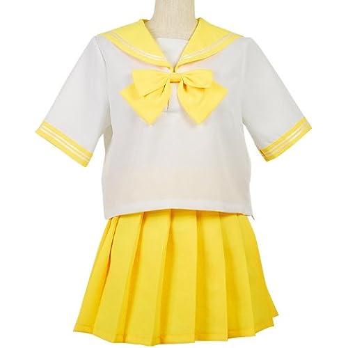 염가판 베리어 scholar 간단 컬러풀 세라복 코스프레 의상 코스튬 레이디스 사이즈 M 옐로우-jbk01010050-yellow