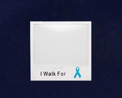 Teal Ribbon Photo Pin- I Walk For (25 Pins)