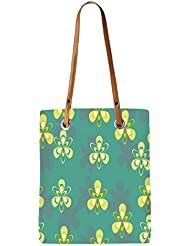 Snoogg Pattern Design In Green Womens Digitally Printed Utility Tote Bag Handbag Made Of Poly Canvas With Leather...