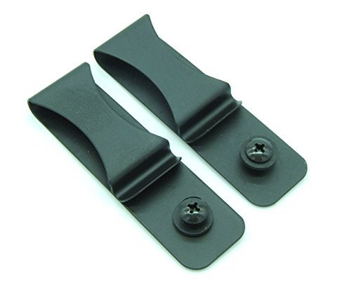 Gun Holster Black Steel Spring Clip With Hole/Hardware (2-pack)