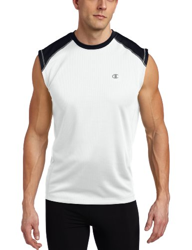 Champion Men's Doubledry Training Muscle Tee, White/Navy, XX-Large