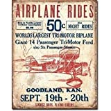 Secrist Flying Circus - Airplane Rides Distressed Retro Vintage Tin Sign