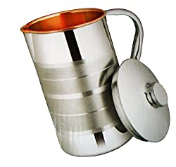 Rana Overseas Copper Steel Embossed Water Jug ,Copper Inside Steel Outside 1 Litres