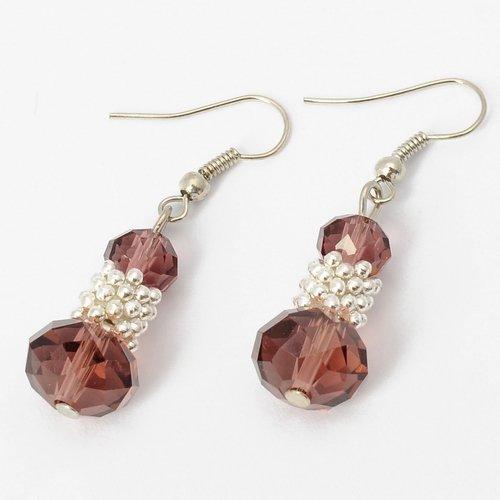 Fashion Silvery Bunch of Beads Light Purple Crystal Drop Loop Dangle Earrings Jewelry