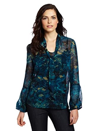 Anne Klein Women's Bow Blouse, Blue/Beige/Black, Medium
