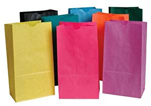 School Smart Flat Bottom Paper Bags - 6 x 11 inches - Pack of 28 - Assorted Colors