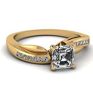 .85 Ct Asscher Cut:Very Good Diamond Swirl Engagement Ring Channel Set VS1 GIA Certificate # 2145142787