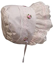 N\'Ice Caps Baby Girl Fancy Double Brimmed Eyelet Bonnet (Infant Small (3-6 months), White/pink)