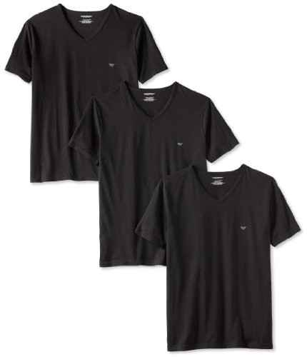 Emporio Armani 阿玛尼 男士纯棉V领T恤 3件装,黑/白色可选图片