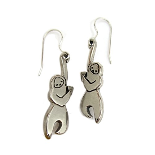 Mark Poulin Women's White Bronze Earrings Little Hanging Sloth