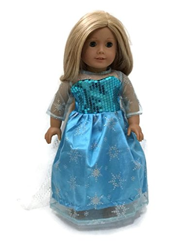 Glamerup: Frozen Inspired 18 inch Doll Clothes - Elsa (LX) of Arendelle Sparkle Dress with Polka Dots Train