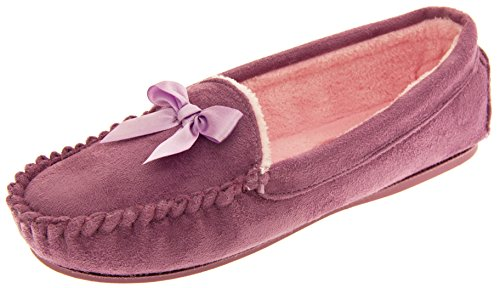 Dunlop Donna Malva Eco-pelliccia Foderato Pantofole Mocassino EU 40