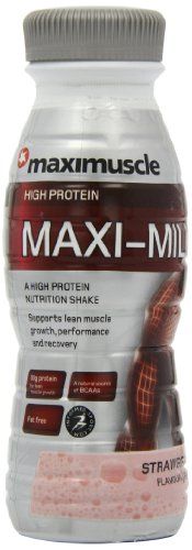 Maximuscle Maxi-Milk 330 ml Strawberry Ready-to-Drink Muscle and Recovery Shake - 8 x Bottles