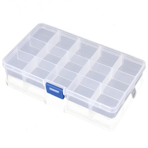 15 Clear Adjustable Jewelry Bead Organizer Box Storage Container Case (15 Grids) (Storage Box Compartments compare prices)