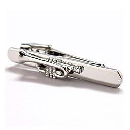 Trumpet Music Musician Teacher Tie Clip Gold Blk Wedding Bar Clasp